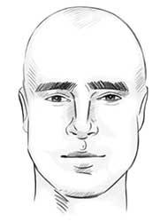 chauve avec visage ovale